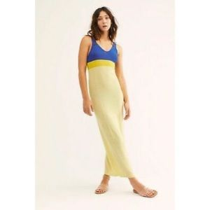 FREE PEOPLE | Yellow/Blue Color-Block Maxi Dress S